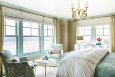 Master Bedroom Aqua abounds in the master bedroom, from the Matouk bedding to the Galbraith and Paul fabric on Lee Industries chairs. Coastal Bedrooms, Coastal Homes, Master Bedrooms, Coastal Bedding, Guest Bedrooms, Coastal Living, Master Suite, Custom Window Treatments, Wall Treatments