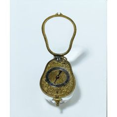 english pear shaped pocket watch, ca. 1635; East, Edward Rock crystal case, with an engraved gilt-brass dial