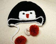 Bambin Penguin Hat Flap Hat Pom Orange Poms Ski animaux Hat oreille Flap Hat Photo accessoires enfants hiver chapeau au Crochet