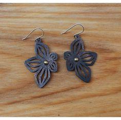 3D Printed Black Steel Flower Earrings