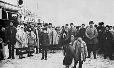 Photograph of the first Doukhobor immigrants to land in Canada, at the Port of Halifax, Jan 1899