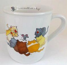 Vintage Cat Mouse Hallmark Rim Shots Coffee Mug Sure Could Use A Hug 1985 | eBay
