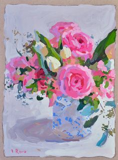 """""""Still life with roses and small tulips"""" 8 x 6 inches / 20 x 15 cm gouache on board Available on Etsy here Sculpture Textile, Mini Canvas Art, Rose Art, Gouache Painting, Abstract Flowers, Painting Inspiration, Flower Art, Art Projects, Roses"""