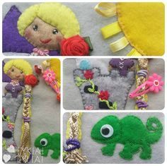 Quiet Book Page Ideas. RAPUNZEL Activities: braiding and tying hair, using hair pins.