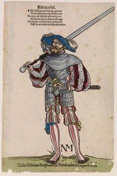 "thewickedknight: "" 1)Zeugbuch Kaiser Maximilians I [Book of Emperor Maximilian's Stuff?], BSB Cod.icon.222, 71r, c. 1502; Landsknehct [foot soldier / land soldier] 2)Landschneckt (mercenaries of Swiss..."