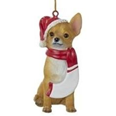 Chihuahua in Santa Hat and Scarf Christmas Ornament