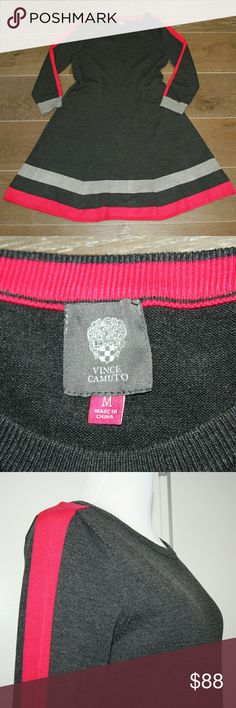 """Vince Camuto Fit and Flare Knit Dress NWOT Vince Camuto Knit Dress NWOT  Charcoal grey knit with hot pink and heather grey accent stripes  Warm, soft knit  Long sleeve   Flattering fit Sits right at knee of 5'7"""" model Vince Camuto Dresses Midi"""