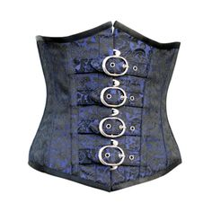 21f423fa4 CWL-CD-206 - Black and Blue Brocade Underbust with Buckle Detail Overbust  Corset