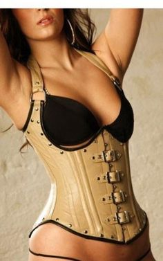 Fashion Faux Leather Buckles Halterneck Under Bust Corset