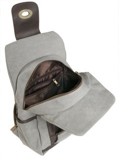 Y-G 16 oz Canvas Backpack Vintage Design w/Leather Trim, 3301 Misty Gray. I like that it DOESN'T have one of those tiny little snaps that never work right!