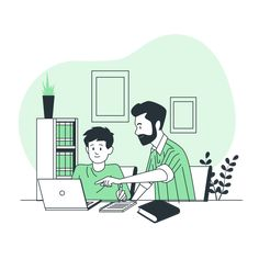 Kids Studying from Home by Freepik Stories Basic Computer Programming, Job Pictures, Like Symbol, Kids Study, Flat Illustration, Vector Art, Vectors, Character Design, Concept