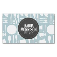 Blue Kitchen Collage with Rustic Gray Logo - Customizable Business Card Template for Bakery, Chef, Catering, Homemade Goods, Baked Goods, Food Truck, etc.