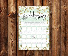 DIGITAL - Bridal Shower Bingo Gold Bling Gray Blue Stripe Bridal Bingo Printable Download Wedding Shower Game Cards for the Bride Printables
