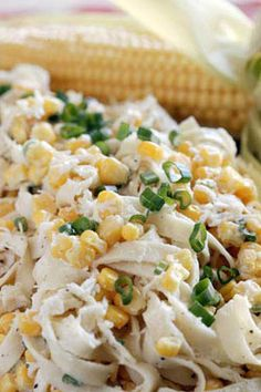 Fettuccine Corn Salad   When summer's sweet corn is abundant at farm stands and supermarkets, I just can't get enough of it. But after a few weeks of corn on the cob, I look for other ways to enjoy it. #SaladMonth