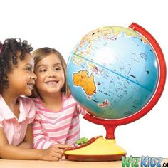 Talking Globe Jr. Our talking, turning tour guide is always a treat! Walks young explorers around the world, pointing out cool facts about countries, landforms, cultures, bodies of water & more. #kids #toys #geography #globe #education