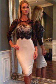 Black Lace Spliced Nude Midi Dress