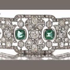 An early 20th century diamond and green paste choker/bracelet/brooch combination, circa 1915