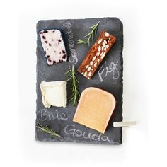 Sparq Charcoal Slate Cheese Board Set ($80) ❤ liked on Polyvore featuring home, kitchen & dining, serveware, charcoal, slate cheese board, slate cheese markers and slate cheeseboard