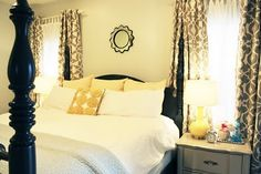 cute bedroom-would want a different yellow throw pillow I think