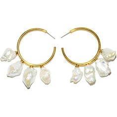 Lizzie Fortunato White Gold Pearl Hoops (€195) ❤ liked on Polyvore featuring jewelry, earrings, accessories, white gold, pearl hoop earrings, earring jewelry, hoop earrings, pearl jewellery and dangling jewelry #WhiteGoldJewellery