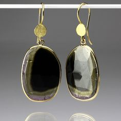 Whether you wear these Barbara Heinrich earrings to dress up the evening  or wear them as a more casual look, they have an effortless style you  will love! The 18K yellow gold petal topped ear wires hold watermelon tourmaline slices framed by an 18K yellow gold wire wrapping. The stones'  natural colors of black, pink and green are highlighted, and create an understated look we  adore!<br><br>Total length measures 1 3/4""
