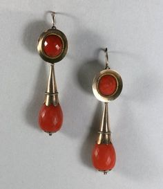 Antique Georgian Gold Coral Day/Night Earrings c. 1830