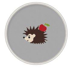 Hedgehog and apple Сross stitch pattern cross by MagicCrossStitch