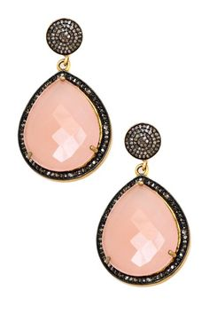 Pink Sliced Sapphire & Champagne Diamond Dangle Earrings on HauteLook
