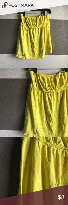 Old Navy Halter Top Bright yellow flowing halter top. There is a pen line mark in the back. Can be removed with the right cleaned. Price reduced Old Navy Tops