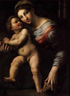 Madonna col Bambino realizzata da Giulio Romano che potete ammirare alla Galleria degli Uffizi