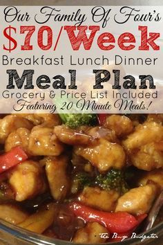 A complete meal plan to feed a family of four for $70 a week, including breakfast, lunch and dinner. Meals only take 20 minutes to make thanks to chinese stir fry.