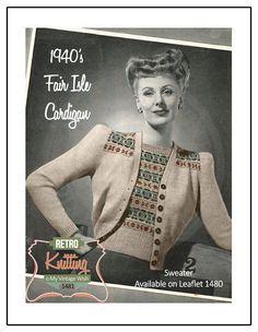 1940s Fair Isle Cardigan Knitting Pattern