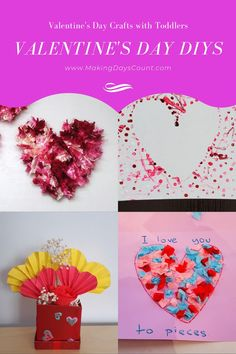 Valentine's Day Gifts do not need to be expensive. Here are 7 Quick and Easy Valentine's Day gifts you can make on a budget. Diy Gifts, Best Gifts, Toddler Crafts, Toddler Activities, Love You To Pieces, Cute Diy Projects, Heart Template, Paint Cards, Floral Foam