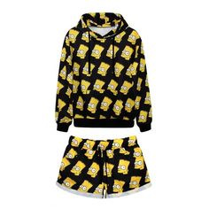 Laid Back Simpson Print Hoodie with Shorts (67 AUD) ❤ liked on Polyvore featuring outfits, pajamas, shirts, sets and shorts