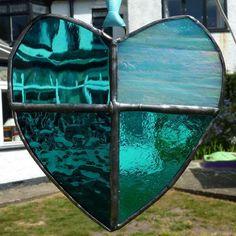 Turquoise glass heart lightcatcher