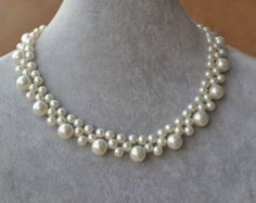 white pearl NecklaceGlass Pearl NecklacePearl by glasspearlstore