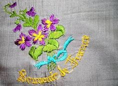 19Th Century Vintage Silk Handkerchief Souvenir Of France Violets Embroidered
