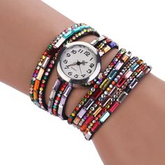 """It was my mom and I against the world. We lived in New York in this bohemian lifestyle where an extended group of artists and photographers were like my aunts and uncles."" ― Brooke Shields  2016 Women Stylish Colorful Crystal Beads Decor Bohemian Style Analoga Quartz Wristwatch Hot Boho Bijoux Femme Best Jewelry Gift"
