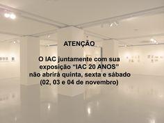 """A exposição """"IAC 20 ANOS"""" não abrirá neste feriado.  #iac #institutodeartecontemporânea #iac20anos #arte #art #feriado #novembro #exposição #iacbrasil #muba #belasartes #artistas #amilcardecastro #hermelindofiaminghi #ioledefreitas #lotharcharoux #luizsacilotto #sergiocamargo #servuloesmeraldo #willysdecastro"""