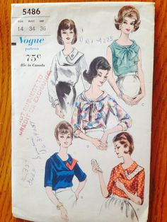 Vogue 5486 Blouse Pattern 1960's Size 14 by RonjasVintageRoses, $11.00