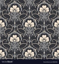Damask seamless pattern background Elegant luxury vector image on VectorStock Textile Pattern Design, Textile Patterns, Textile Prints, Black And White Background, Textured Background, Molduras Vintage, Drawing Stencils, Deco Paint, Victorian Wallpaper