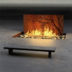 Meditation Space - The extensive Fire collection brings us the memorable Tree Wall which is an in-ground corten steel fire arc with acid etched tree, along with the in-ground Branch Wall, by Elena Colombo Fireplace Wall, Fireplace Design, Fireplace Ideas, Mantel Ideas, Outdoor Rooms, Outdoor Living, Outdoor Art, Cheap Fire Pit, Country House Design