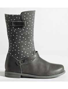 Girls Leather Boots Storm grey