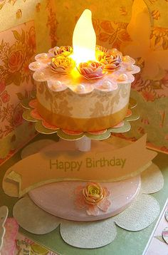 """* Beautiful center piece for an exploding box card. Use a """"fake"""" tea light for the middle of the cake. Tea Light Candles, Tea Lights, Soy Candles, Exploding Box Card, Light Cakes, 3d Quilling, Birthday Cake With Candles, Paper Cake, Cricut Cards"""