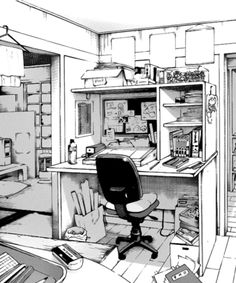 drawing manga anime drawings perspective reference background desk sketches shoujoromance environment office sketch bureau amenagement ink space characterdesigns bedroom pins
