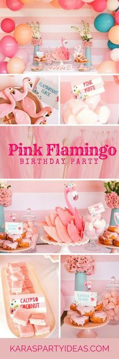 Blue & Pink Flamingo Birthday Party Pink Flamingo Birthday Party via Kara's Party Ideas - KarasParty Pink Flamingo Party, Flamingo Baby Shower, Flamingo Birthday, Pink Flamingos, Flamingo Cake, Tropical Party, Colorful Party, First Birthday Parties, Girl Birthday