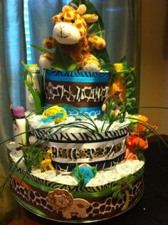 safari baby shower cakes | Jungle Themed Diaper Cake | Baby Shower/Gifts