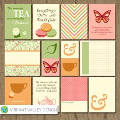 Tea Time Journaling Cards, Project Life Inspired Printable JPEG, Simple Stories, Digital Scrapbooking, Instant Download, Tea, Tea Party