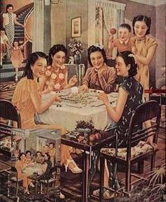 A beautiful painting - Shanghai Mahjong - from the 1930's.