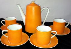 Fine China orange 1960 Coffee set Matte by Summit by LALAPOUBELLE, $48.00